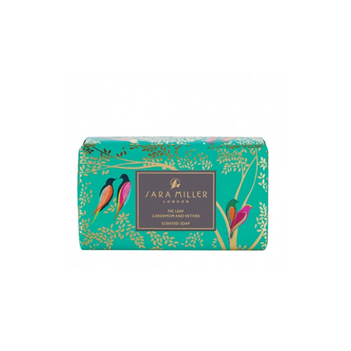 Bar of soap with a green bird print wrapper