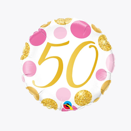 White balloon with pink and gold dots and the number 50