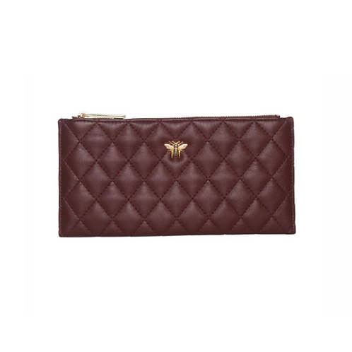 Burgundy quilted purse with bee motif