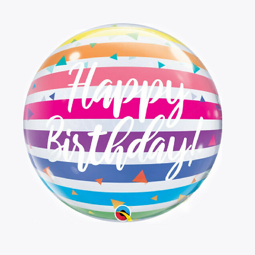 Round bubble balloon with rainbow stripes and happy birthday