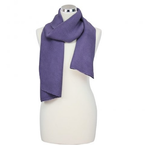 Purple pleated scarf on mannequin