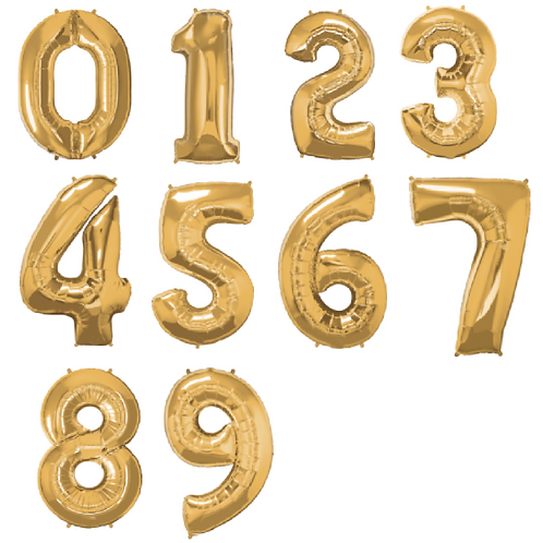 Large gold foil balloons in the shape of numbers 1-9