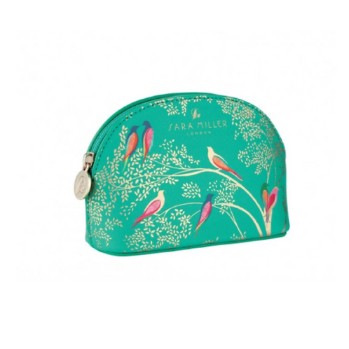 Green makeup bag with birds on the front