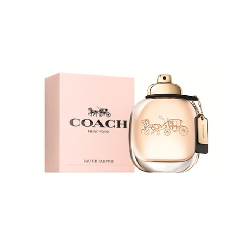 Pastel pink box next to oval bottle of perfume with tag