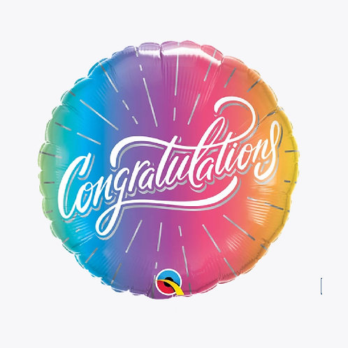 Rainbow coloured balloon with congratulations on the front