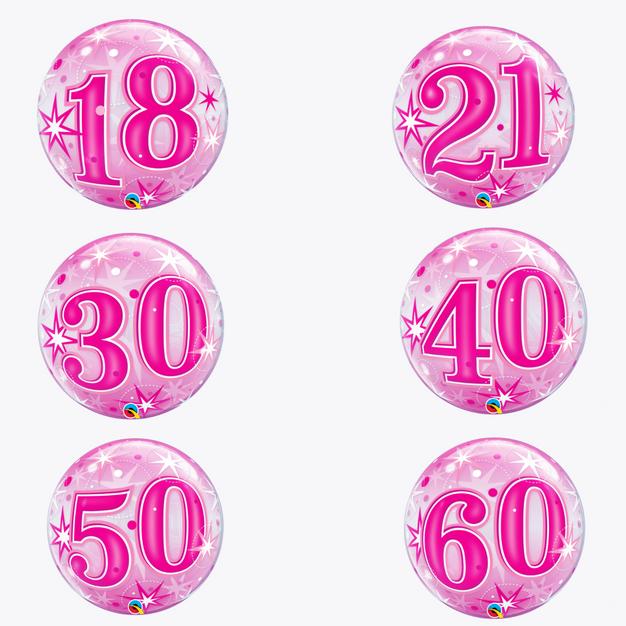 Pink Starburst Sparkle Number Balloons