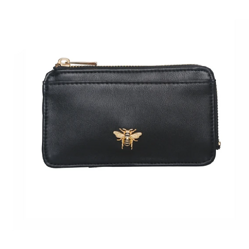 Small black coin purse with bee motif
