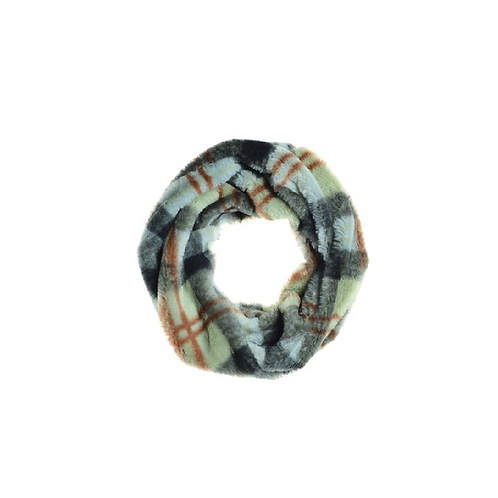 Pastel coloured tartan fur snood