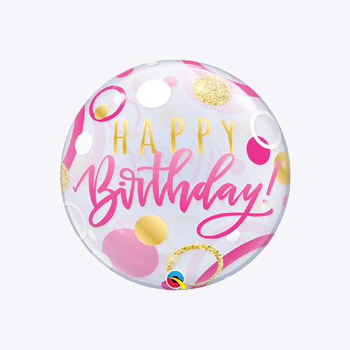 Round bubble balloon with gold and pink dots and wording happy birthday in pink and gold