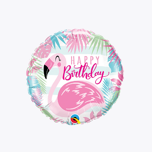 Round foil balloon with palm fronts and a pink flamingo with words happy birthday