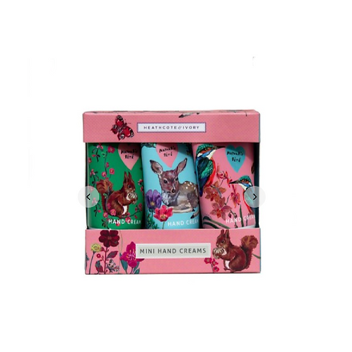 Box containing three hand creams with a fairy tale forest design