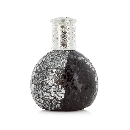 Black and silver Patterned mosaic bottle with silver lid