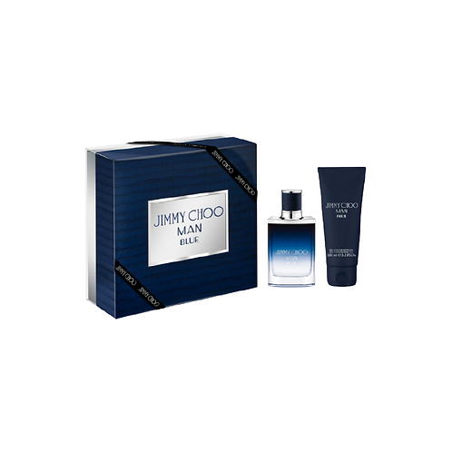 Navy box with silver label next to a perfume bottle and a tube of shower gel