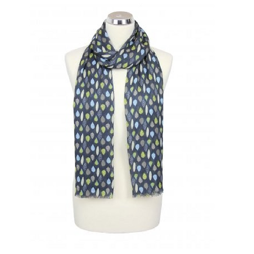 Cotton scarf with leaf design on a mannequin