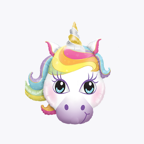Large foil balloon in the shape of a unicorn head with rainbow coloured hair