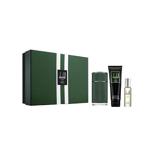 green and white striped box next to a bottle of perfume in green, a tube of shower gel and a glass bottle d