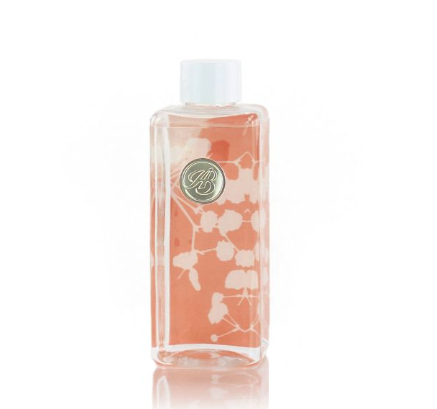 clear bottle with white lid and orange background