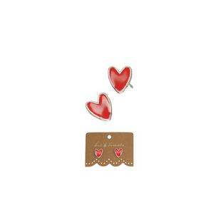 Hot Tomato Red Enamel Heart Earrings