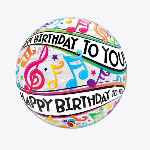 Round bubble balloon with musical notes and happy birthday to you words