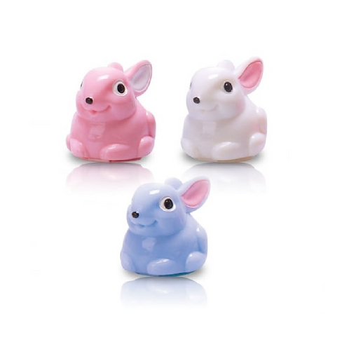 The small containers for lip balm in the shape of rabbits in pink, blue and white