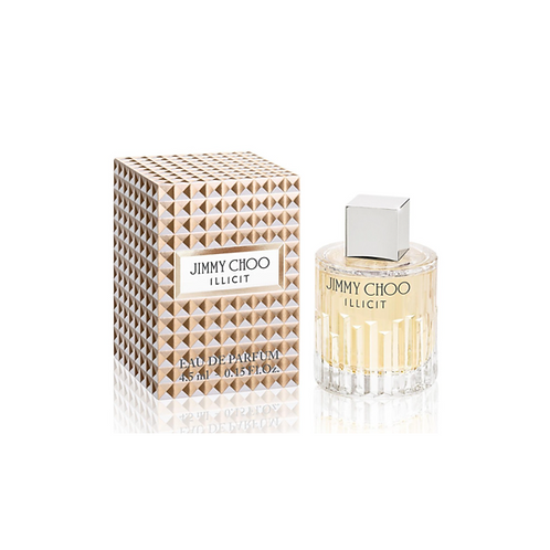 Gold and grey patterned box with Jimmy Choo on the front and round bottle with silver lid next to it