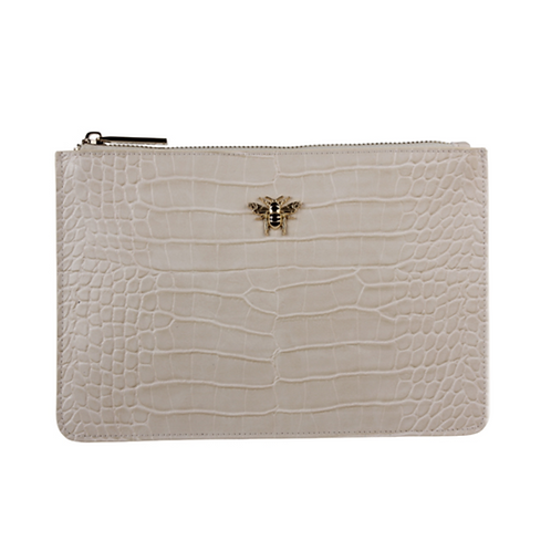 Cream pouch bag with bee motif