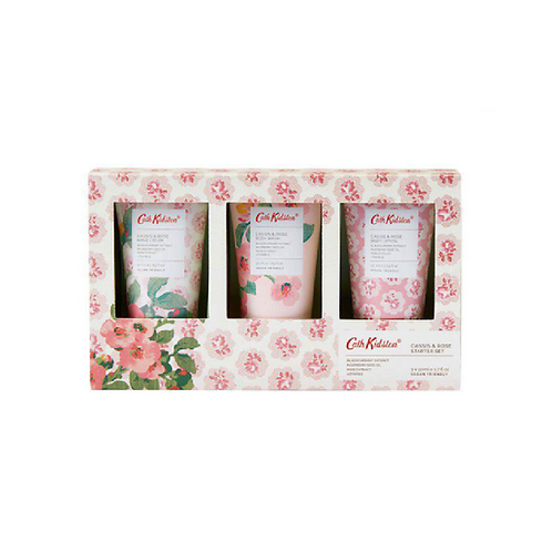 Three floral hand creams in a floral box