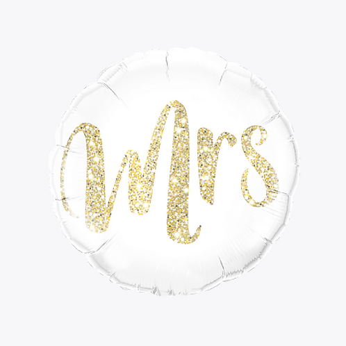 white foil balloon with the words mrs on the front