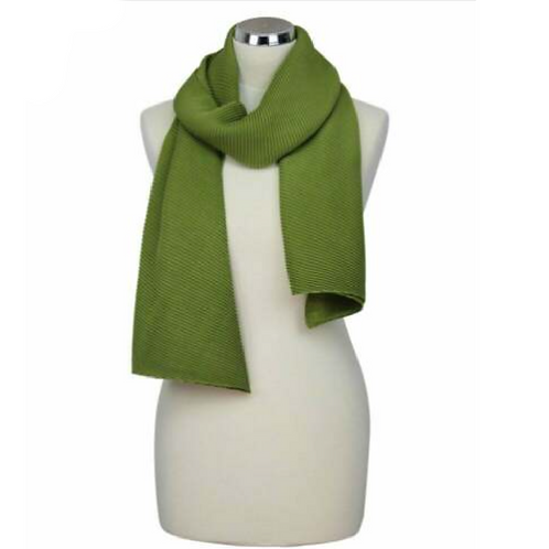 Green pleated scarf on mannequin
