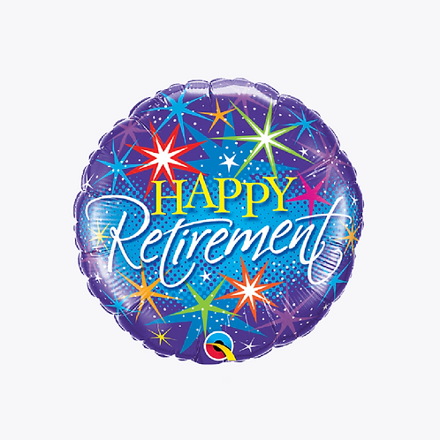 Blue foil balloon with stars in bright colours and words Happy Retirement