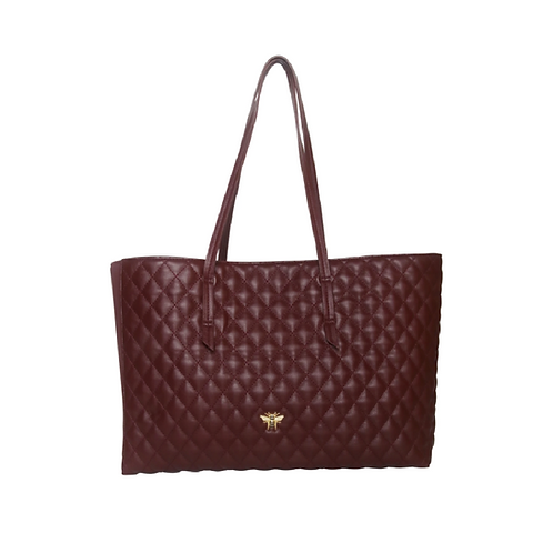 Large Burgundy Quilted Tote Handbag
