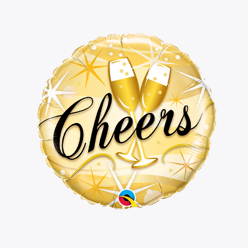 Gold coloured foil balloon with two champagne flutes and word cheers on the front