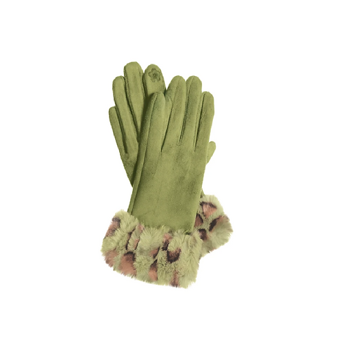 Green Faux Fur Trimmed Gloves