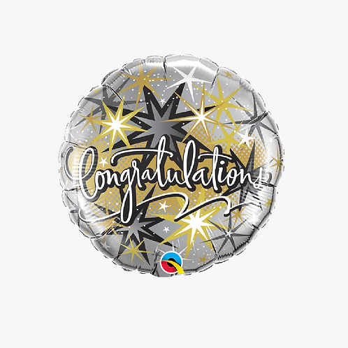 Silver foil balloon with black and gold stars and words congratulations