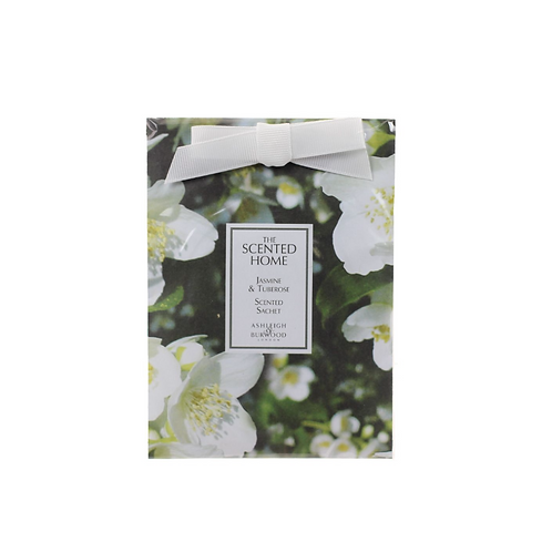 Square sachet with white ribbon and flower design