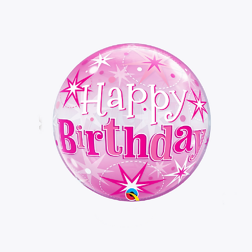 Bubble balloon in pink with stars and the wording happy birthday