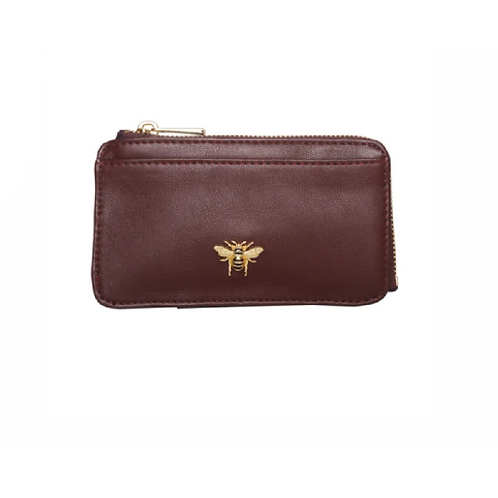 Small burgundy coin purse with bee logo