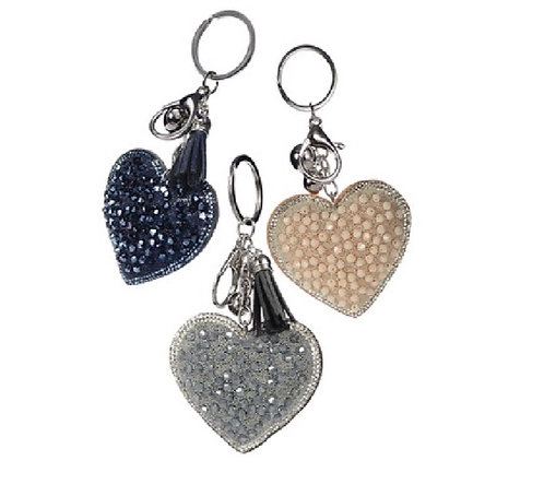 Sparkly Heart Shaped Keyring