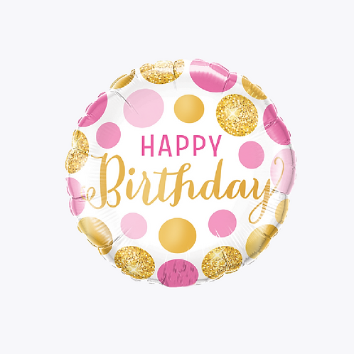 Foil balloon with pink and gold dots and wording happy birthday in pink and gold