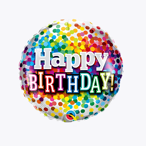 Silver balloon covered in confetti design with words happy birthday on front