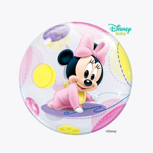 Round bubble balloon with a little picture of mini mouse in pink