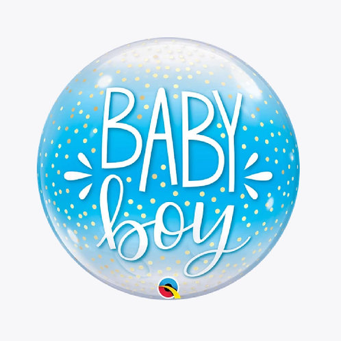 Bubble balloon with blue background and words Baby Boy