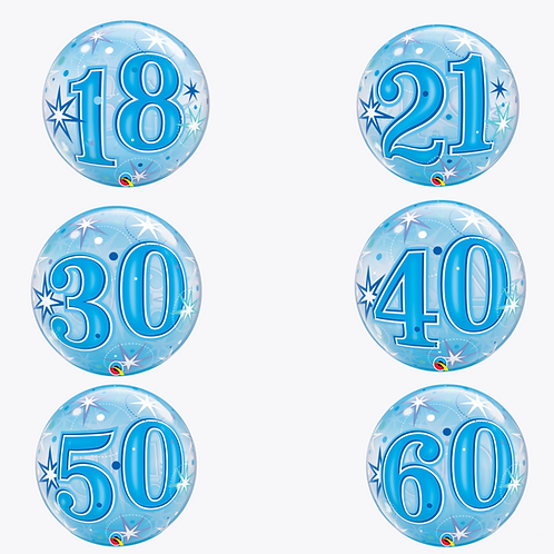 6 blue round bubble balloons with 18, 21, 30, 40, 50 and 60 numbers on front