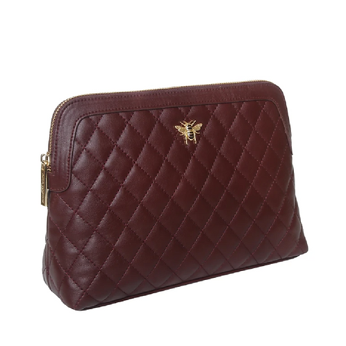 Large quilted burgundy toiletries bag with bee motif