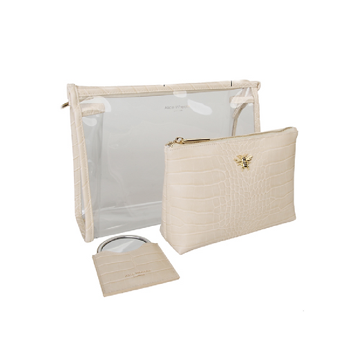 Two cream makeup bags and matching mirror