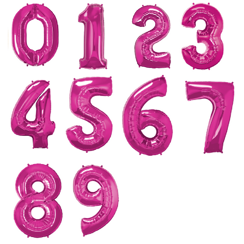 Large pink foil balloons in the shape of numbers 1-9
