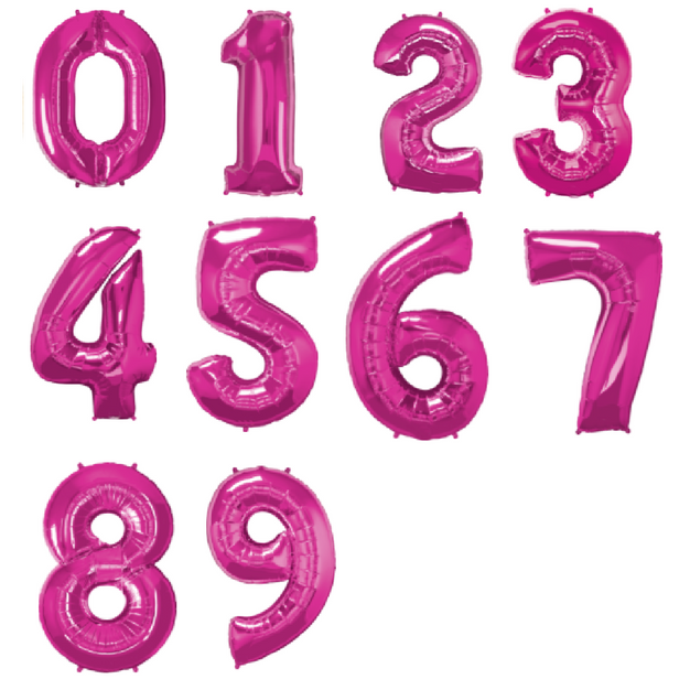 Pink Number Helium Balloons