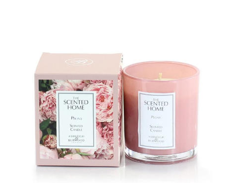 Pink glass candle and floral box