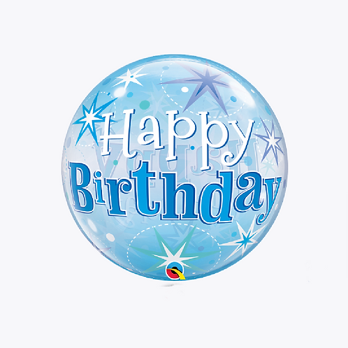 Round bubble balloon with stars and words happy birthday