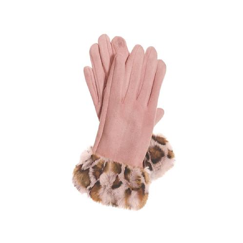 Pink Faux Fur Trimmed Gloves